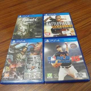 【出售】PS4 真三國無雙7 猛將傳 / 美國職棒大聯盟 MLB 15 The Show / 戰地風雲 強硬路線 / Fallout4 異塵餘生4