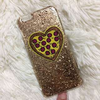 Typo Gold Glitter & Pizza iPhone 6s+ Phone Case