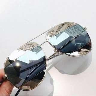 Authentic Dior Split Two Tone Metallic Aviator Sunglasses
