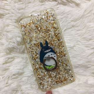 Gold Glitter + Totoro Handle Ring iPhone 6S+ Phone Case