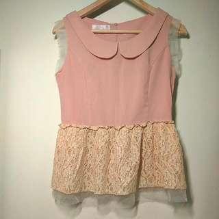氣質 蕾絲 粉色上衣