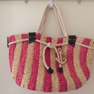 Striped rattan/basket beach bag