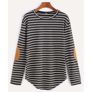 Elbow Patch Striped T-shirt