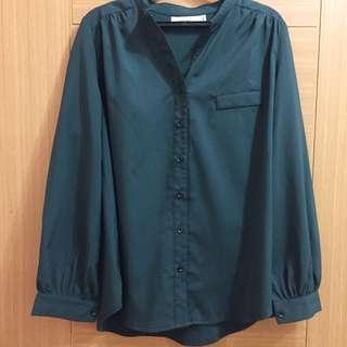Starmimi深綠雪紡襯衫