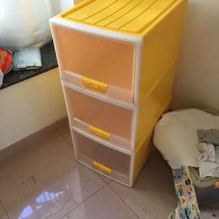黃色三層存物櫃