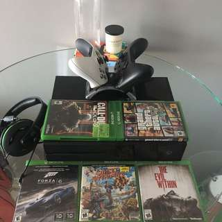 Xbox One Mint Condition With Two Controllers, Games, And Headset