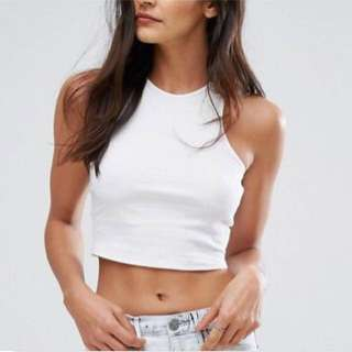 River Island White and Black Crop top