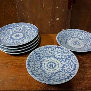 Vintage Peranakan Blue Batik Plates