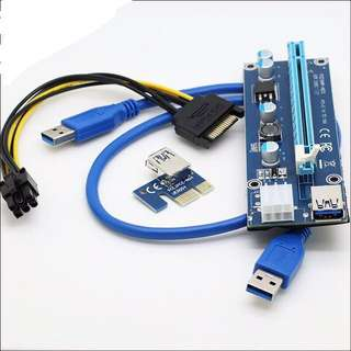 INSTOCK! PCI-E 1x to 16x Riser Cables 4 Capacitor For Mining