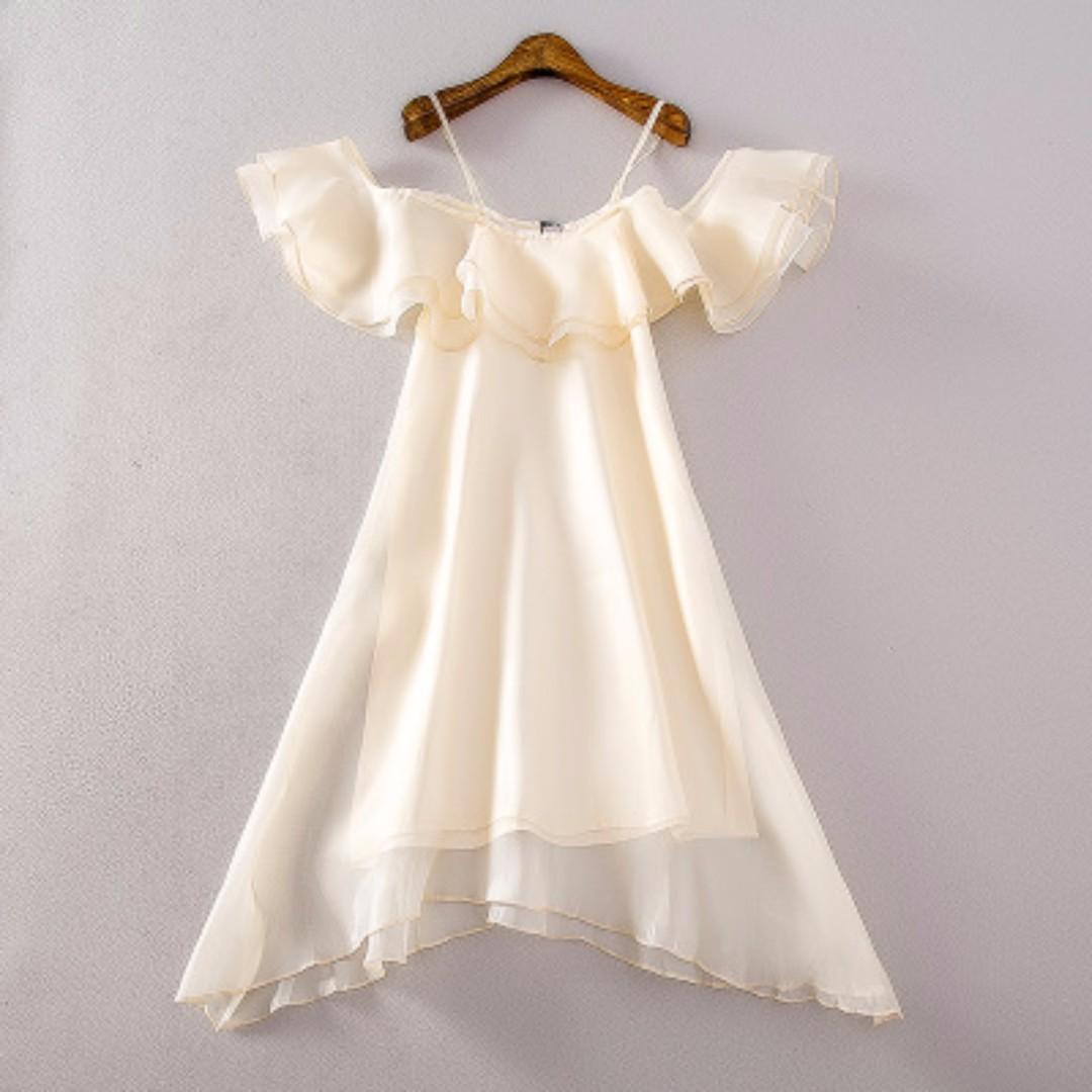 一字領無袖吊帶雪紡荷葉邊連衣裙女