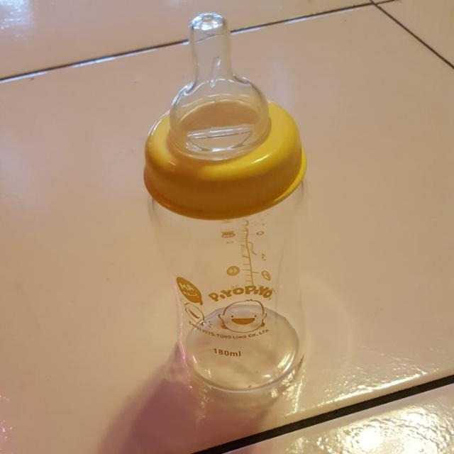黃色小鴨玻璃寬口奶瓶