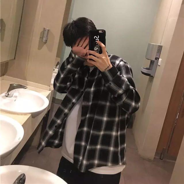 [孬]/男女非主流設計款格子格紋長袖短袖百搭防曬街頭襯衫/