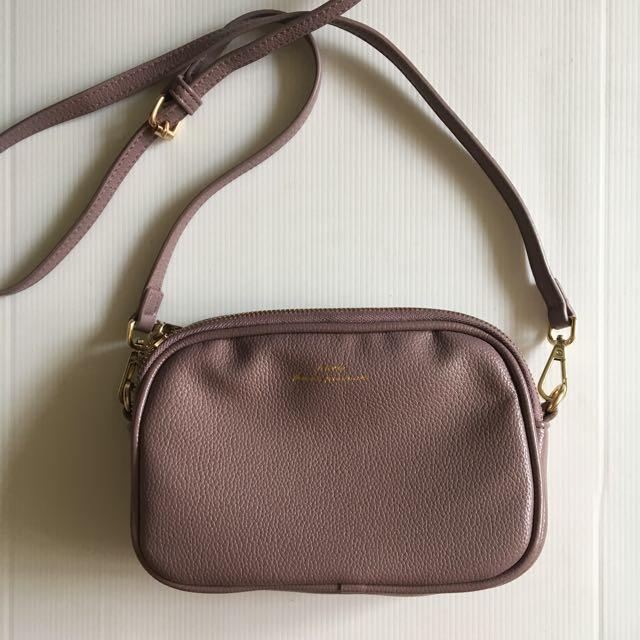 天藍小舖 藕紫色軟皮側背小包