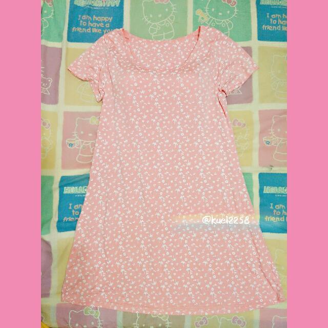 (全新) 春夏薄款莫代爾純棉胸墊睡裙睡衣短袖T恤居家連衣裙連身裙 - 香粉椰子