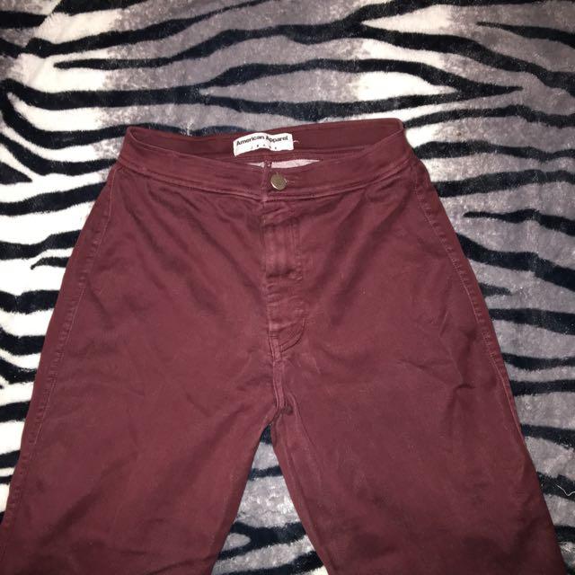 American Apparel Burgundy Easy Jeans