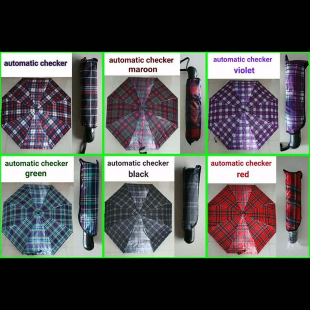 Automatic Checkered Umbrella