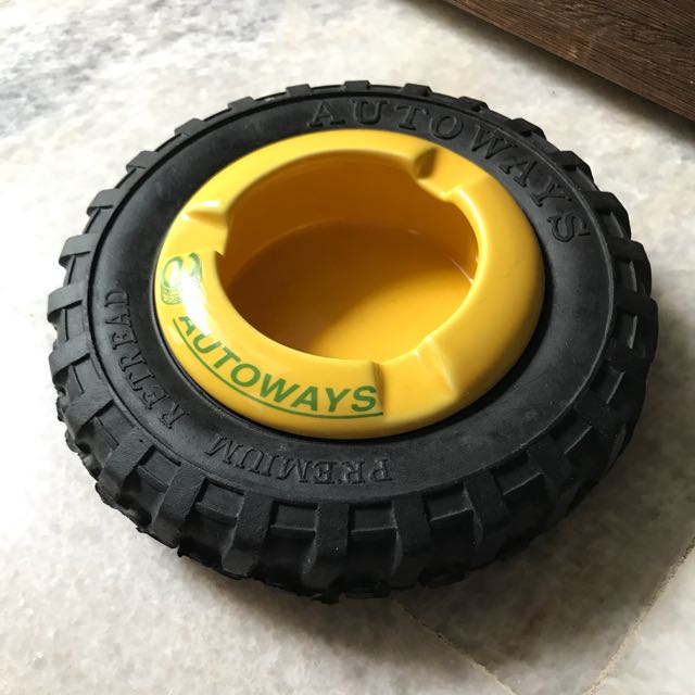 Autoways Yellow Tyre Ashtray - Rare