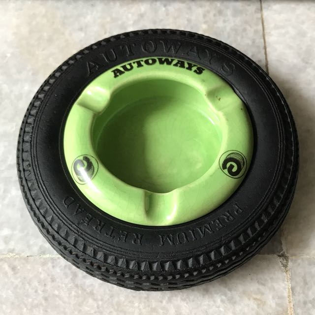 Autoways Green Tyre Ashtray - Rare