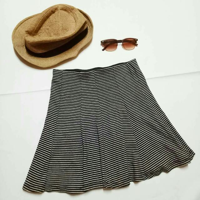 Bershka Striped Flare Skirt