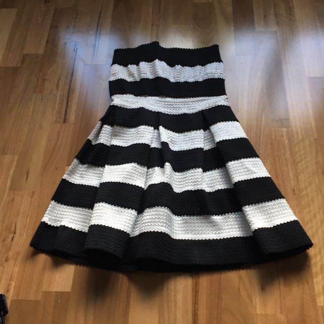 Black And White Stripe Strapless