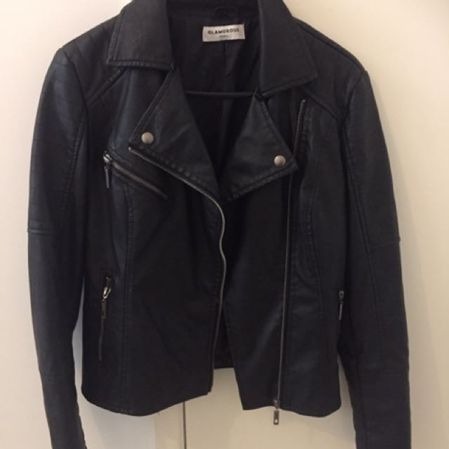 Black Faux Leather Jacket Size S
