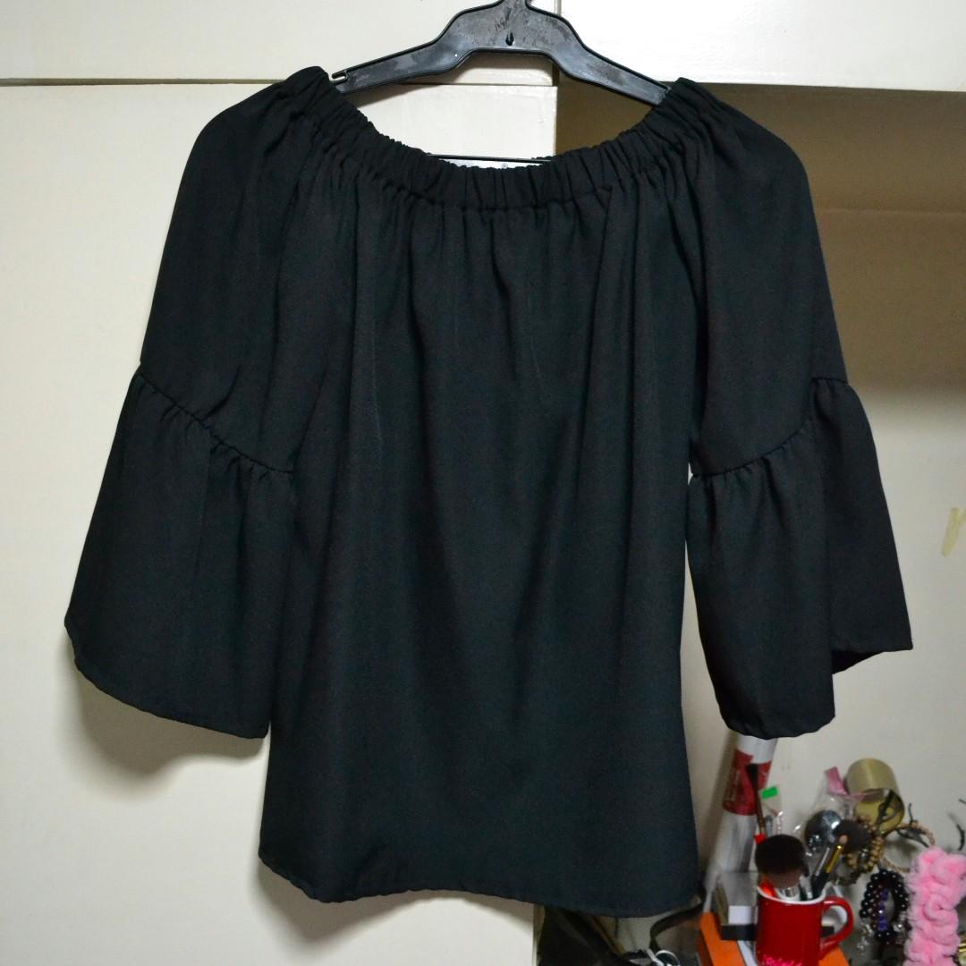 Black Off Shoulder Bell Sleeve Top