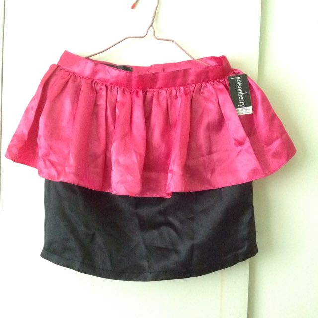 black pink peplum skirt