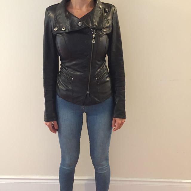 Black Real Leather Danier Jacket