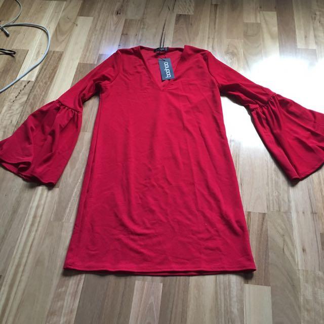 Boohoo.com Flute Sleeve Dress