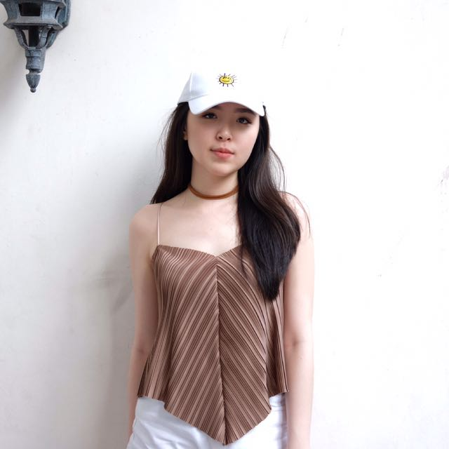 Bronze brown pleated tanktop cami