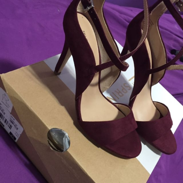Burgundy Suede Heels Size 6.6