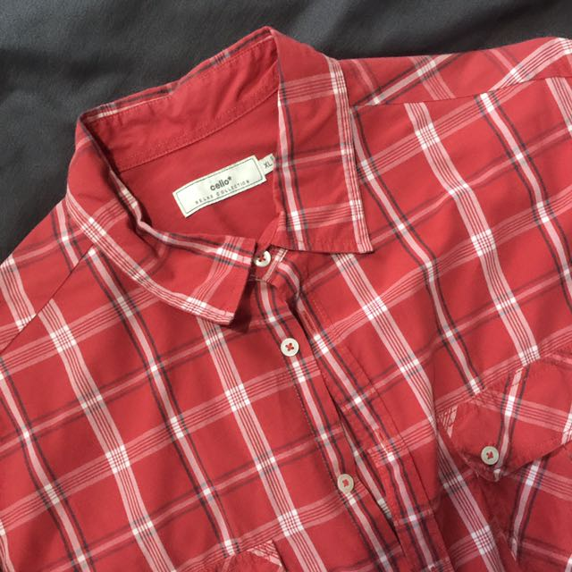 Celio Red Checkered Long sleeves