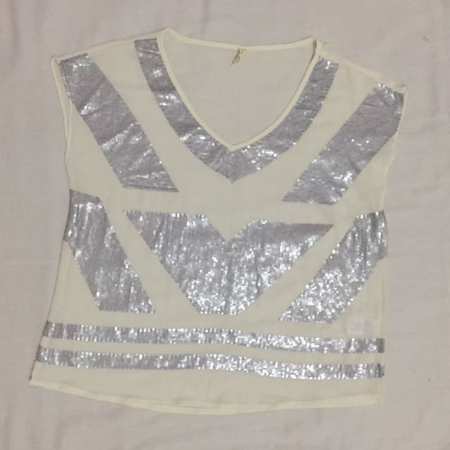 Chiffon Top With Metallic Design