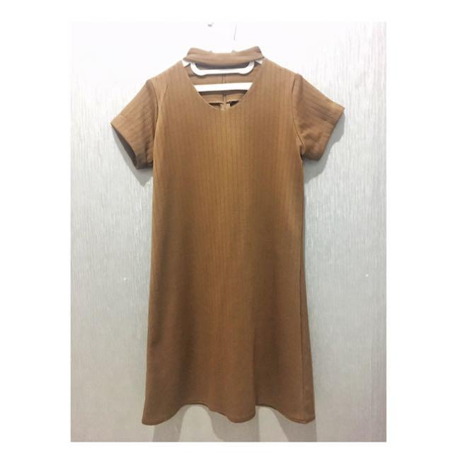 Chocker Brown Mustard Dress