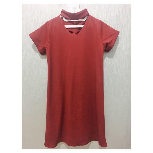 Chocker Dress Red Maroon
