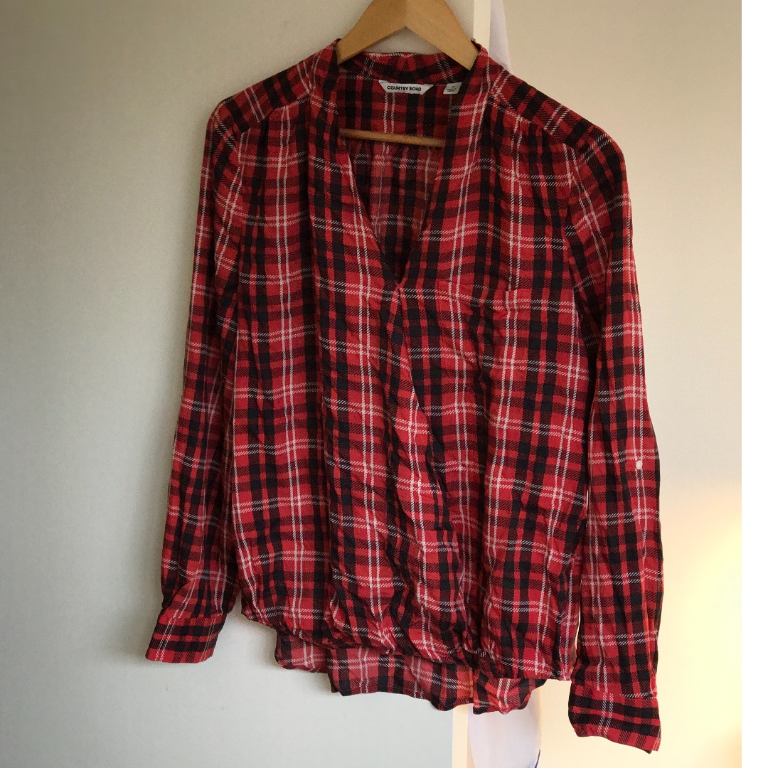 country road tartan top - size small