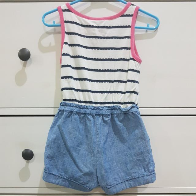 fd882d0450db CRAZY 8 romper cotton and chambray kids baby girls 12-18m. crotch snap  opening. good condition no stains