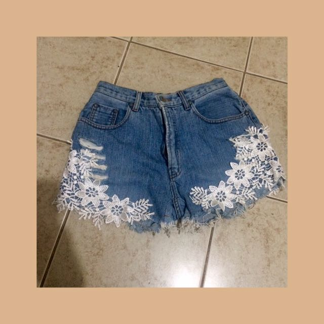 Denim laced hw shorts
