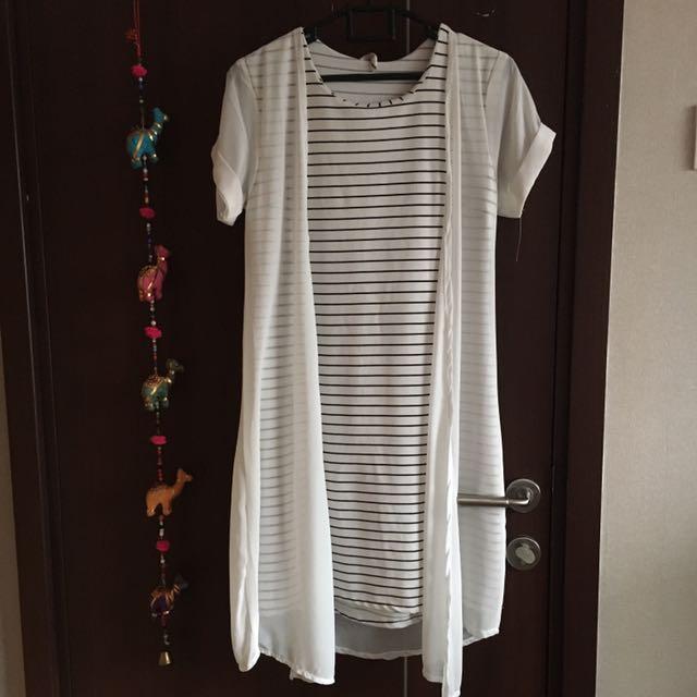 Dress & Rompi Putih