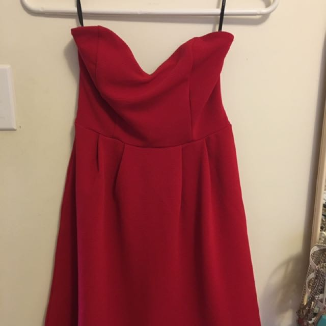 Forever21 Red Strapless Flare Dress