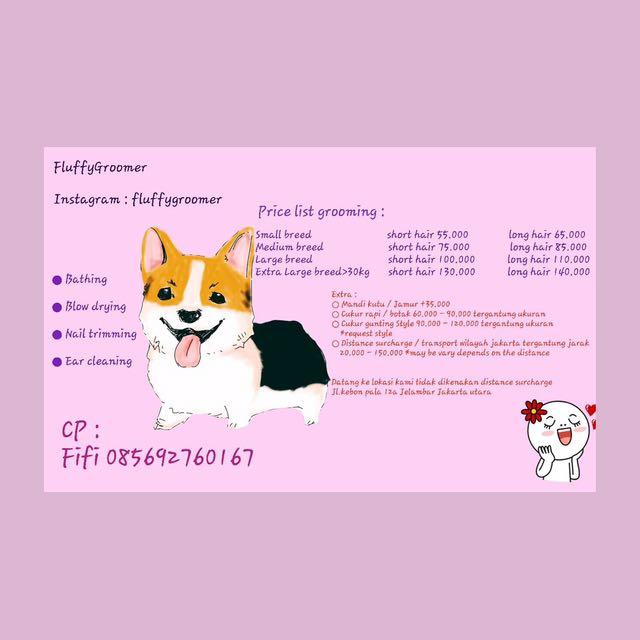 grooming anjing (new price list)