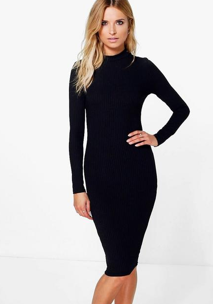 High Neck Long Sleeved Midi Dress