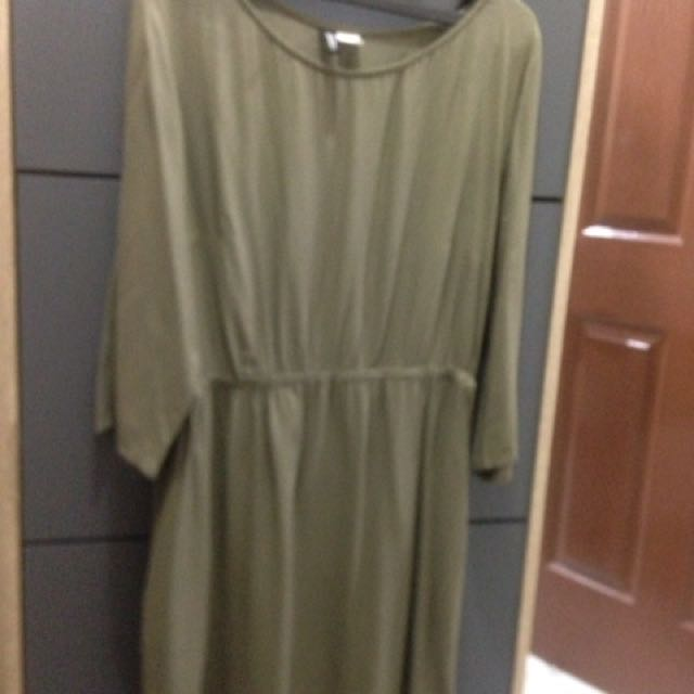 H&M SEMI DRESS GREEN NAVY
