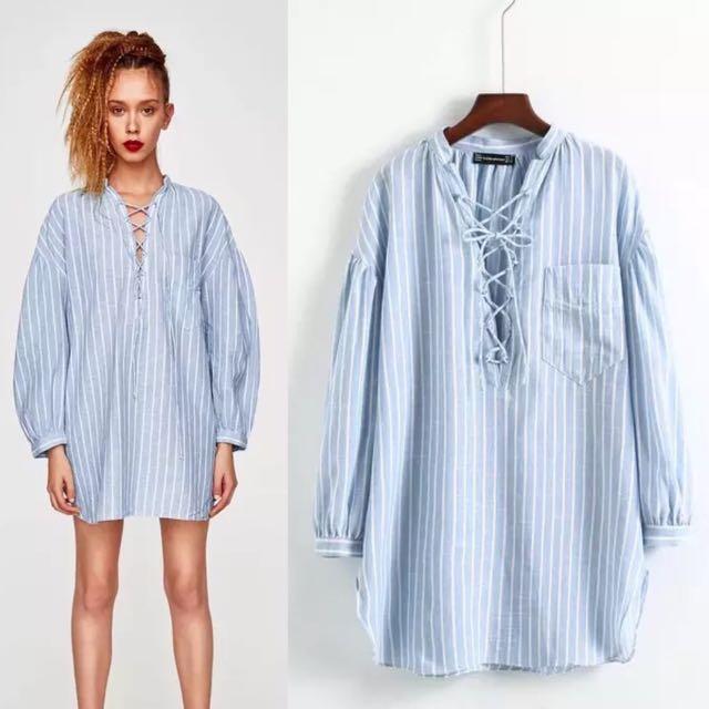 743be279f50 Inspired Zara Plus Size Stripe Linen Shirt Mandarin Collar Blouse, Women's  Fashion, Clothes, Tops on Carousell