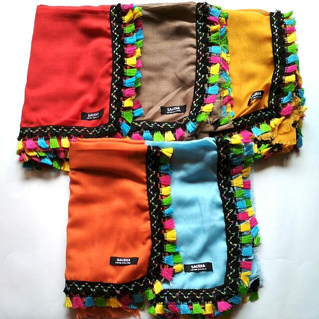 Jilbab Segiempat Tassel Rainbow