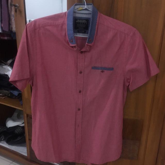 Kemeja Lengan Pendek Soft Pink Ukuran M