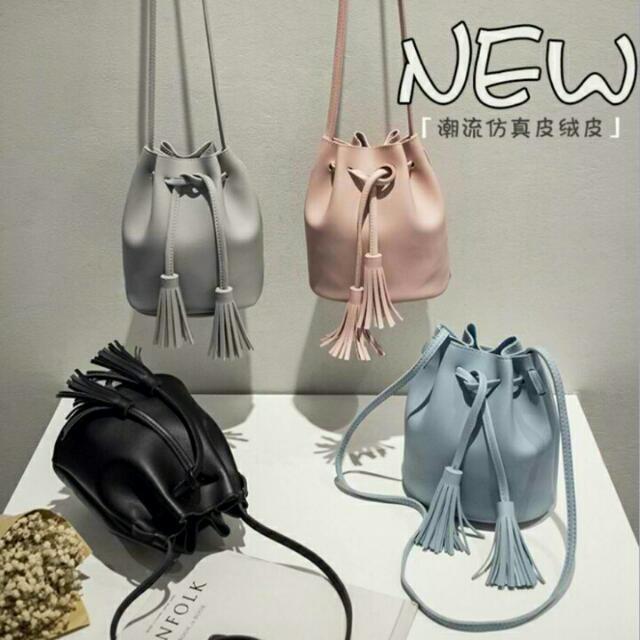 Korea Tassel Drawstring Shoulder Bag