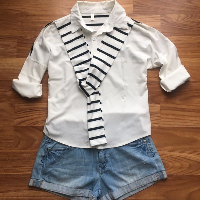 Korean Shirt White Stripe