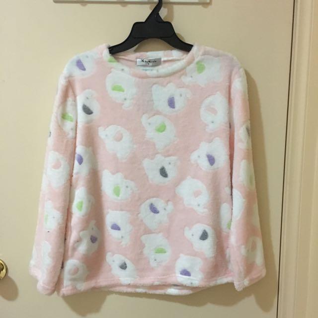 Long Sleeve Velvet Fleece Button Up Set Pyjamas(Elephant)