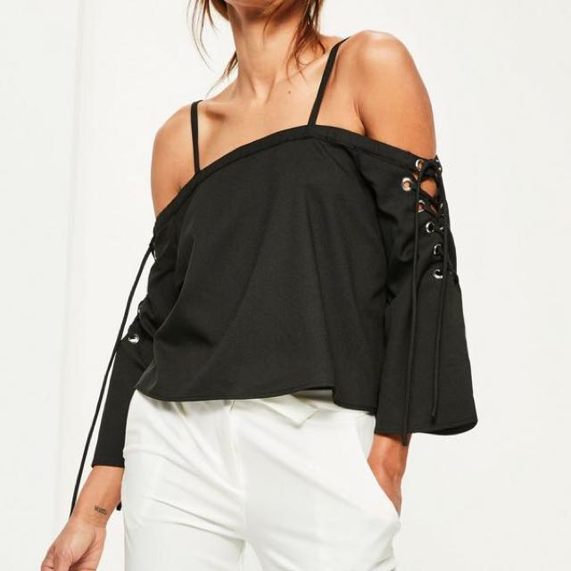 Missguided Lace Up Sleeve Eyelet Detail Top